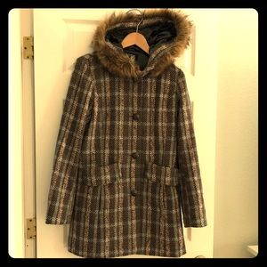 Brown Plaid Long Coat with Oversized Faux Fur Hood